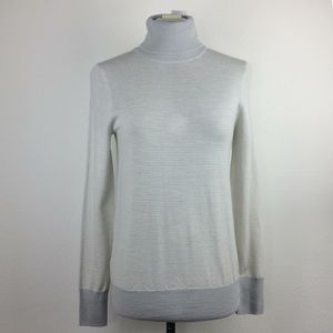 NWT J.Crew cream/gray lightweight knit turtleneck